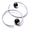 Round Dew Drop Hoops from Diablo Organics with rainbow obsidian