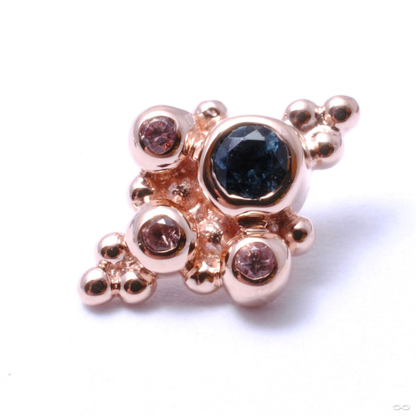 Round Sarai Threaded End in Gold from BVLA with london blue topaz & champagne sapphires