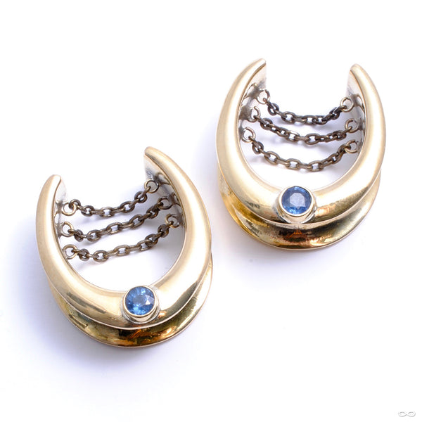 "Saddle Spreader Weights with Blue Topaz in 1"" from Oracle"
