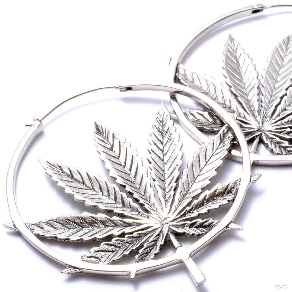 Sativa Earrings from Maya Jewelry in white brass
