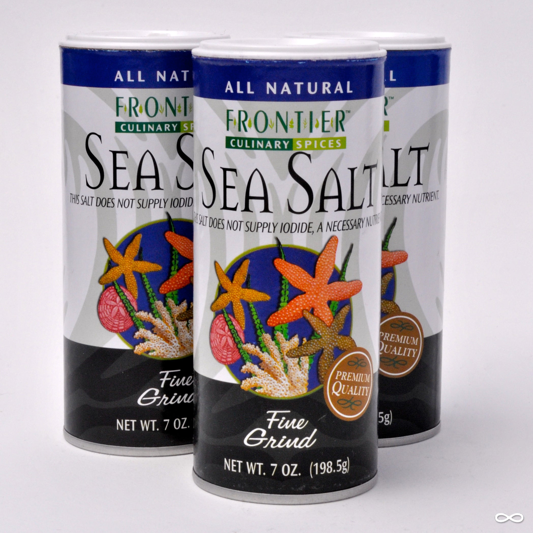 Frontier Fine Grind Sea Salt, 7 oz. container
