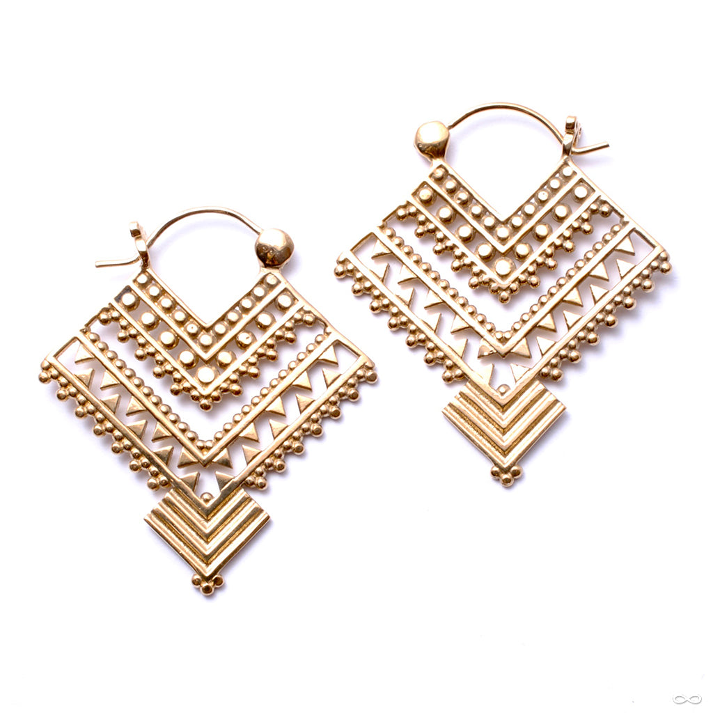 Shawl Earrings from Tawapa in Yellow-gold-plated Brass