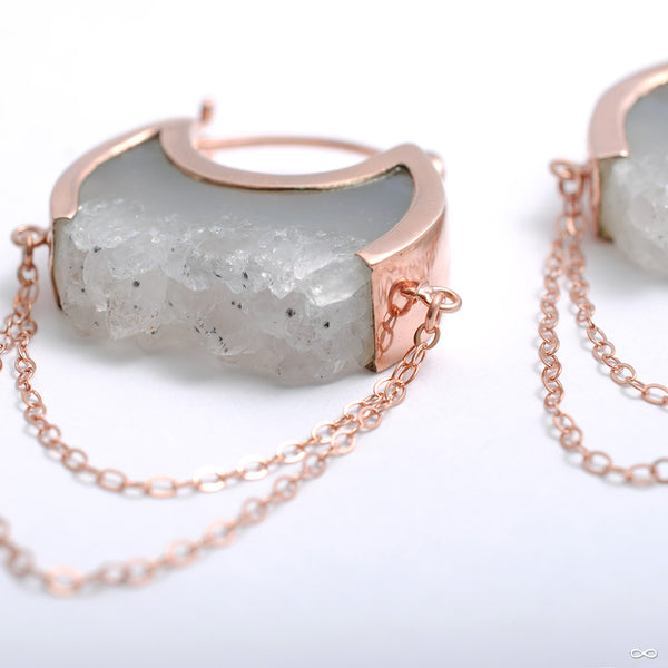 Small Moonstruck Earrings in Rose Gold with Gray Agate Crystal from Buddha Jewelry