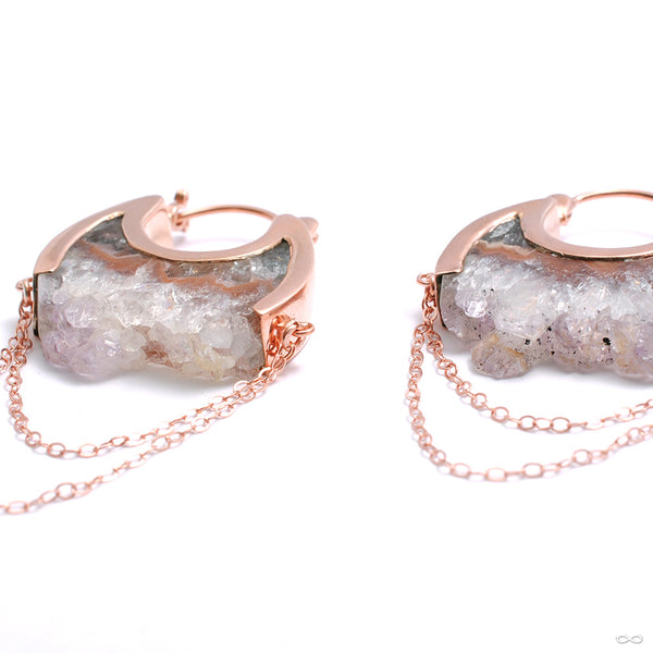 Small Moonstruck Earrings in Rose Gold with Agate Crystal from Buddha Jewelry