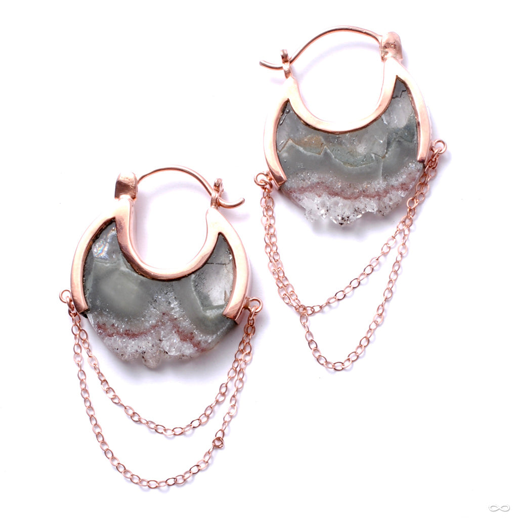 Small Moonstruck Earrings in Rose Gold with Fluorite from Buddha Jewelry