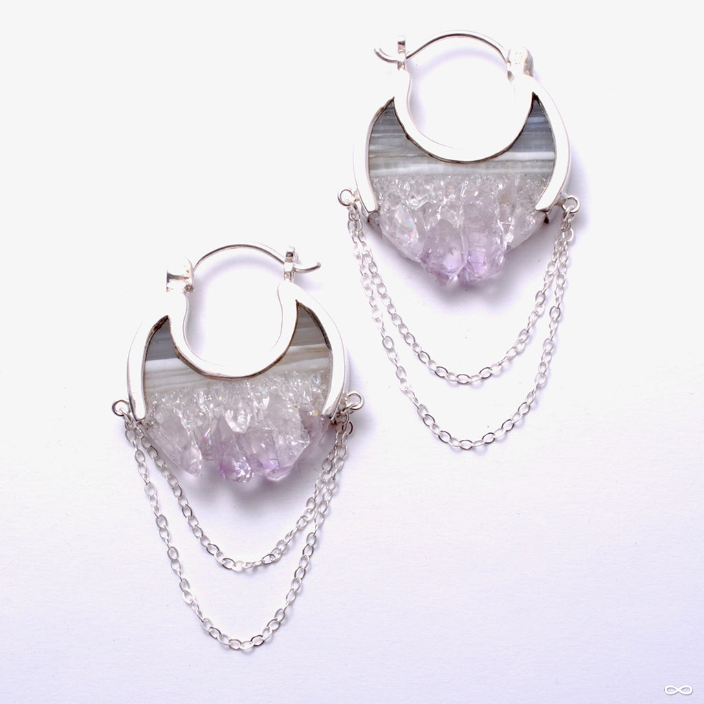 Small Moonstruck Earrings in Silver with Fluorite from Buddha Jewelry