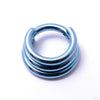 Stacked Clicker in Titanium from Zadamer Jewelry Triple Stacked anodized light blue