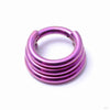 Stacked Clicker in Titanium from Zadamer Jewelry Triple Stacked anodized pink