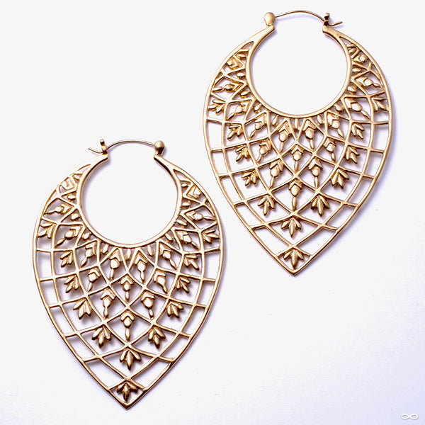 Tear Drop Earrings from Tawapa in Yellow-gold-plated Brass