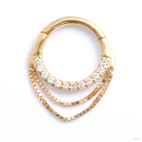 Tempeste Clicker in Gold from Buddha Jewelry in yellow gold with clear cz