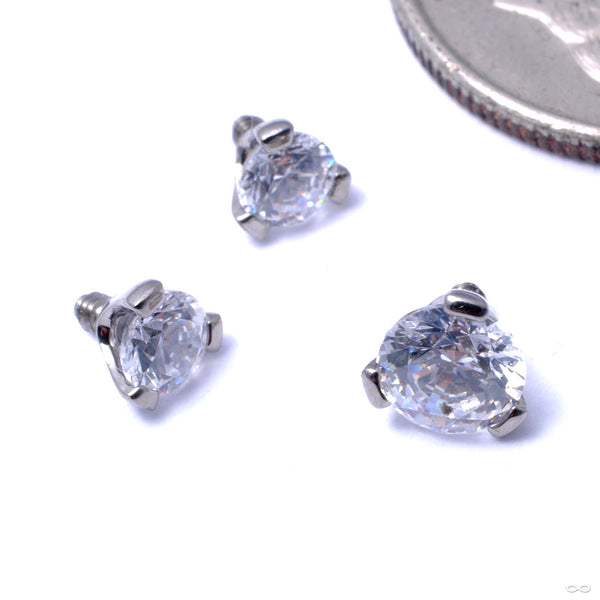 Three Prong-set Gem Threaded End in Titanium from Industrial Strength with clear CZ