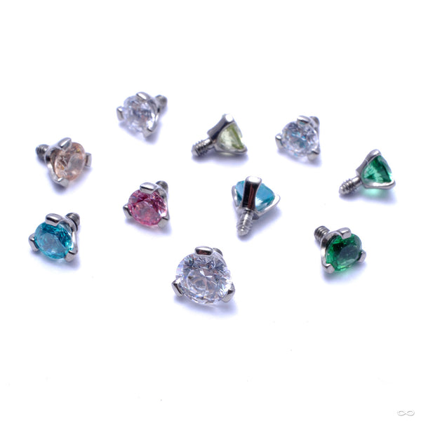 Three Prong-set Gem Threaded End in Titanium from Industrial Strength in assorted materials