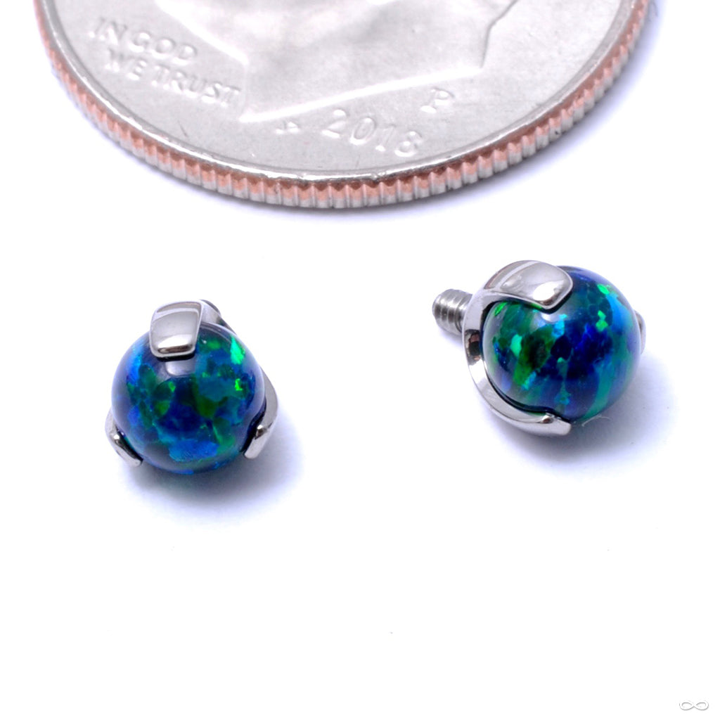 Three Prong-set Faux-pal Threaded End in Titanium from Industrial Strength with black opal