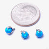 Three Prong-set Faux-pal Threaded End in Titanium from Industrial Strength with capri blue opal