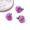 Three Prong-set Faux-pal Threaded End in Titanium from Industrial Strength with magenta opal