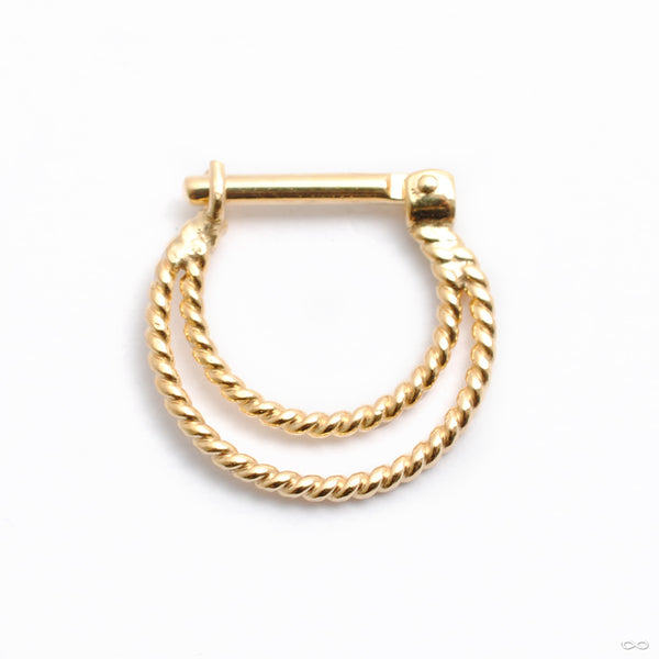 Twisted Sonder Hinged Ring in Gold from Quetzalli back view