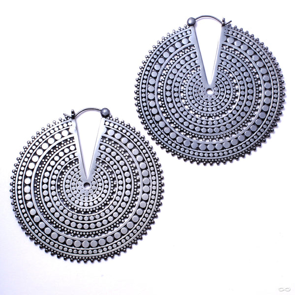 Ultra Afghan Disc Earrings from Tawapa in Gun Metal