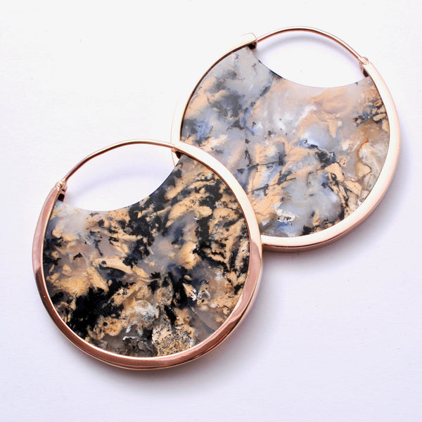 Mini Muse Earrings with Dendritic Agate from Buddha Jewelry in rose gold