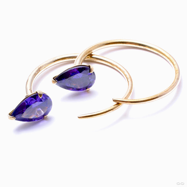 Small Tsabit Hoops with Stone Teardrop from Diablo Organics with purple CZ