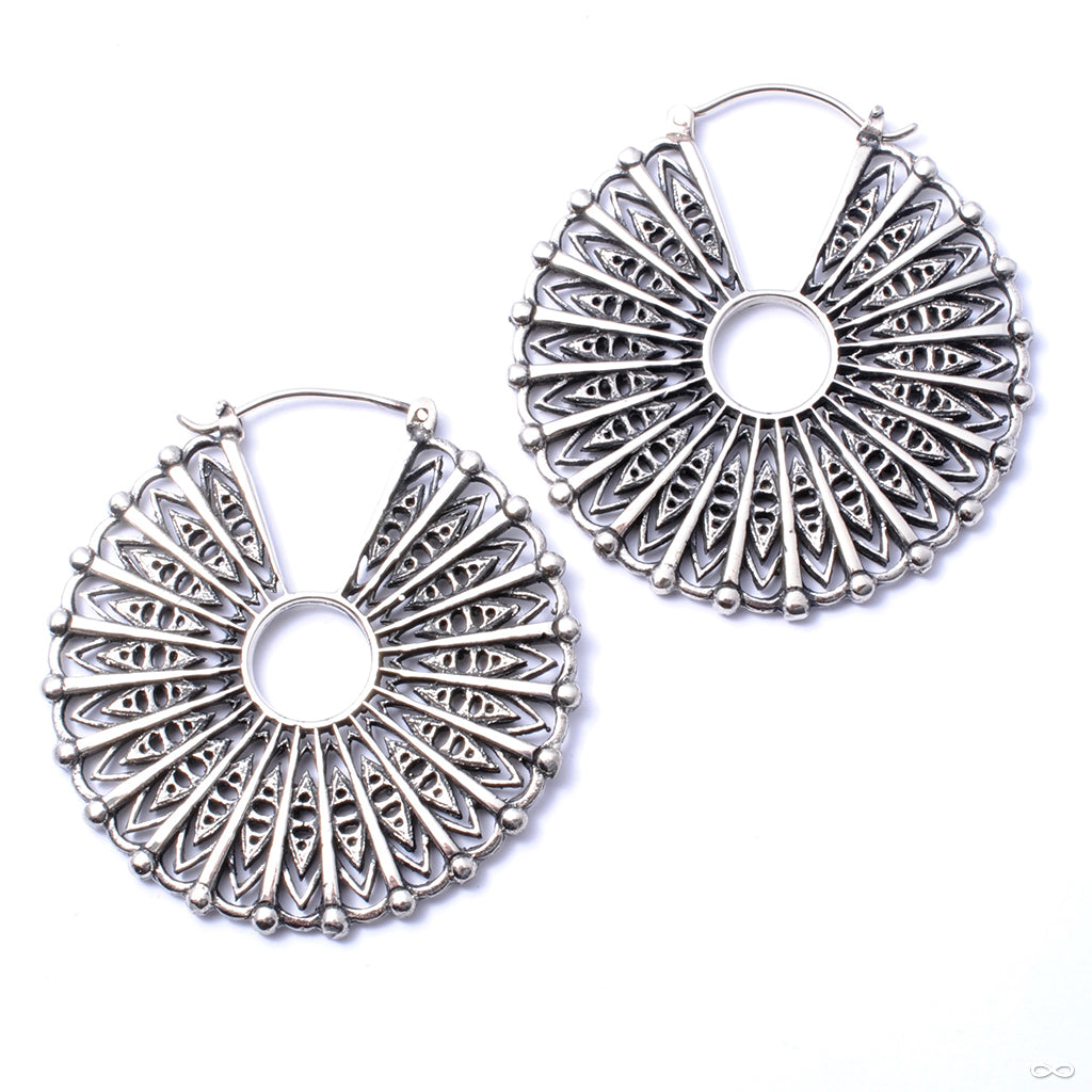 Cloak Earrings from Maya Jewelry in White Brass