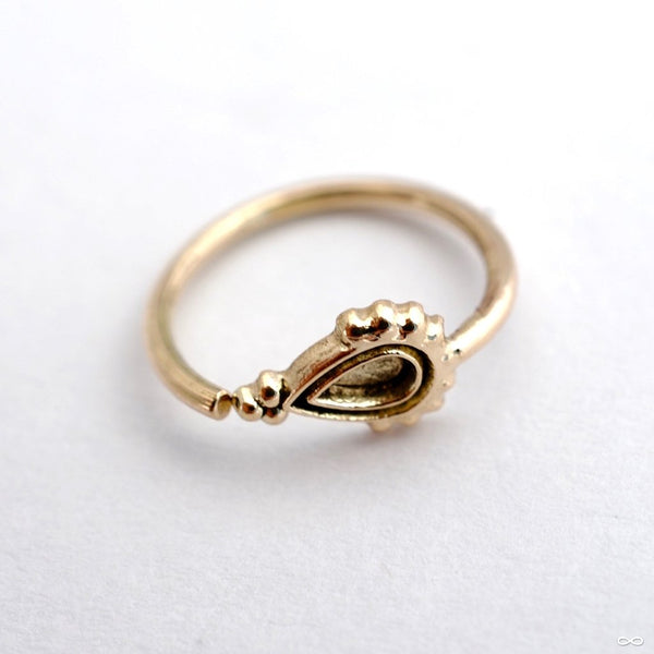 Art Deco Pear Fixed Bead Ring in Gold from Sacred Symbols