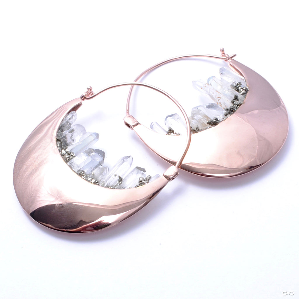 Rapture Earrings in Rose Gold with Quartz from Buddha Jewelry