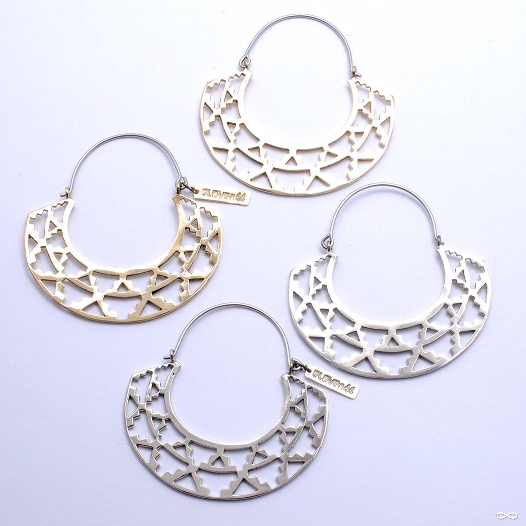 Azteka Hoop Earrings from Eleven44 in Brass