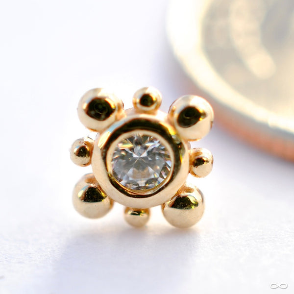 Bali Press-fit End in Gold from NeoMetal with Clear CZ