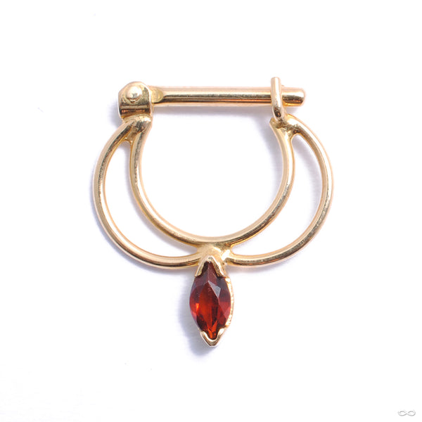 Vision Hinged Ring in Gold from Quetzalli with garnet