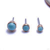 Bezel-set Cabochon Press-fit End in Gold from LeRoi with Robin's Egg Stones