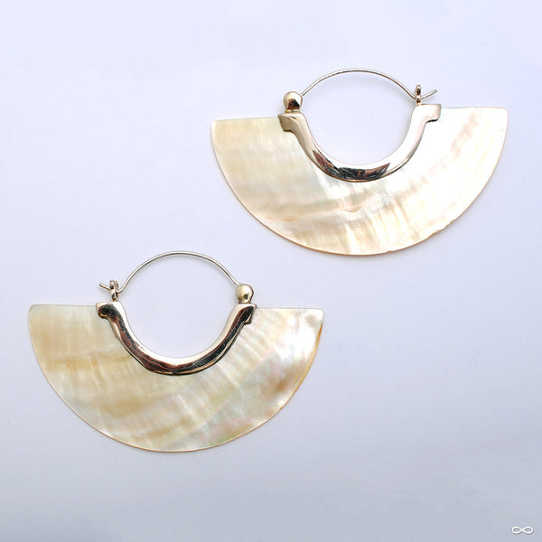 Stellar Half Plate Earrings from Tawapa with mother of pearl shell