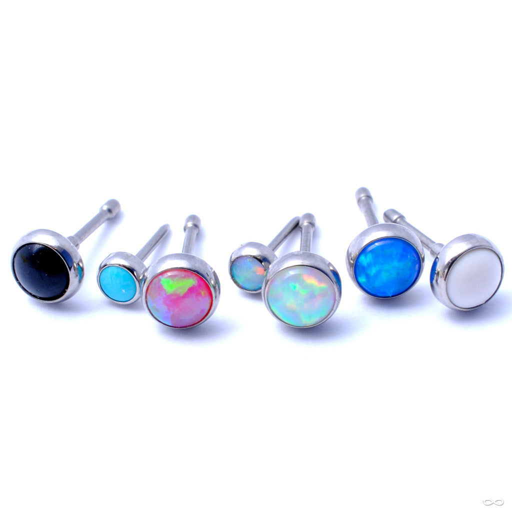 Bezel-set Cabochon Press-fit End in Titanium from NeoMetal with Black Opal