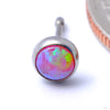 Bezel-set Cabochon Press-fit End in Titanium from NeoMetal with Bubblegum Opal