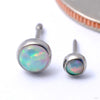 Bezel-set Cabochon Press-fit End in Titanium from NeoMetal with White Opal