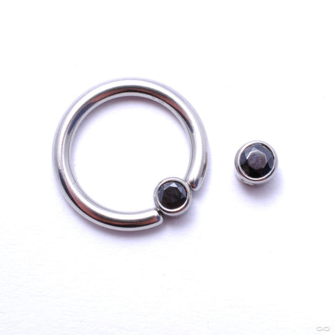 Captive Gem Bead in Titanium from Industrial Strength with Black CZ