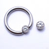 Captive Gem Bead in Titanium from Industrial Strength with Clear CZ