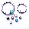 Captive Gem Bead in Titanium from Industrial Strength with Assorted Stones