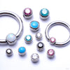 Captive Gem Bead in Titanium from Industrial Strength with Assorted Sizes