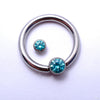 Captive Gem Bead in Titanium from Industrial Strength with Mint CZ