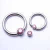 Captive Gem Bead in Titanium from Industrial Strength with Pink CZ