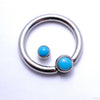 Captive Gem Bead in Titanium from Industrial Strength with Turquoise