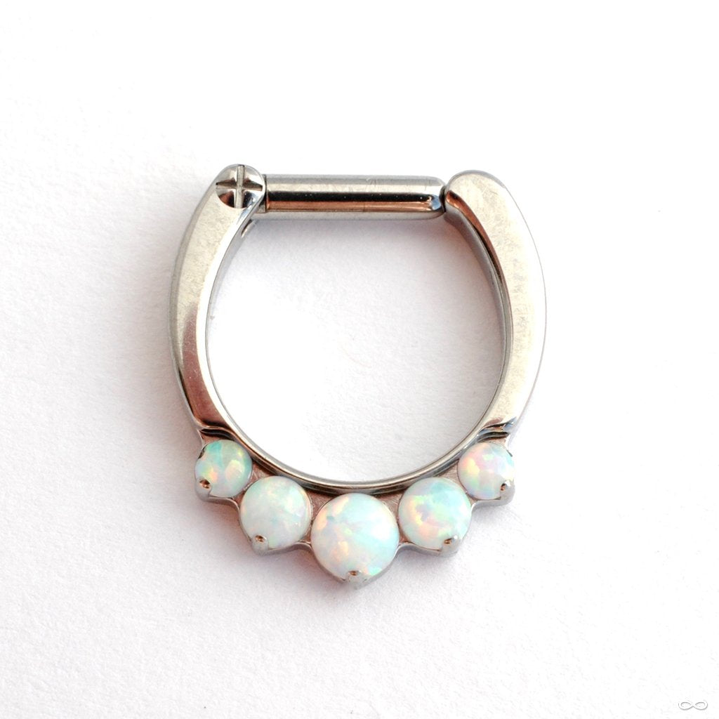 5 Stone Odyssey Clicker with Cabochons from Industrial Strength with White Opals