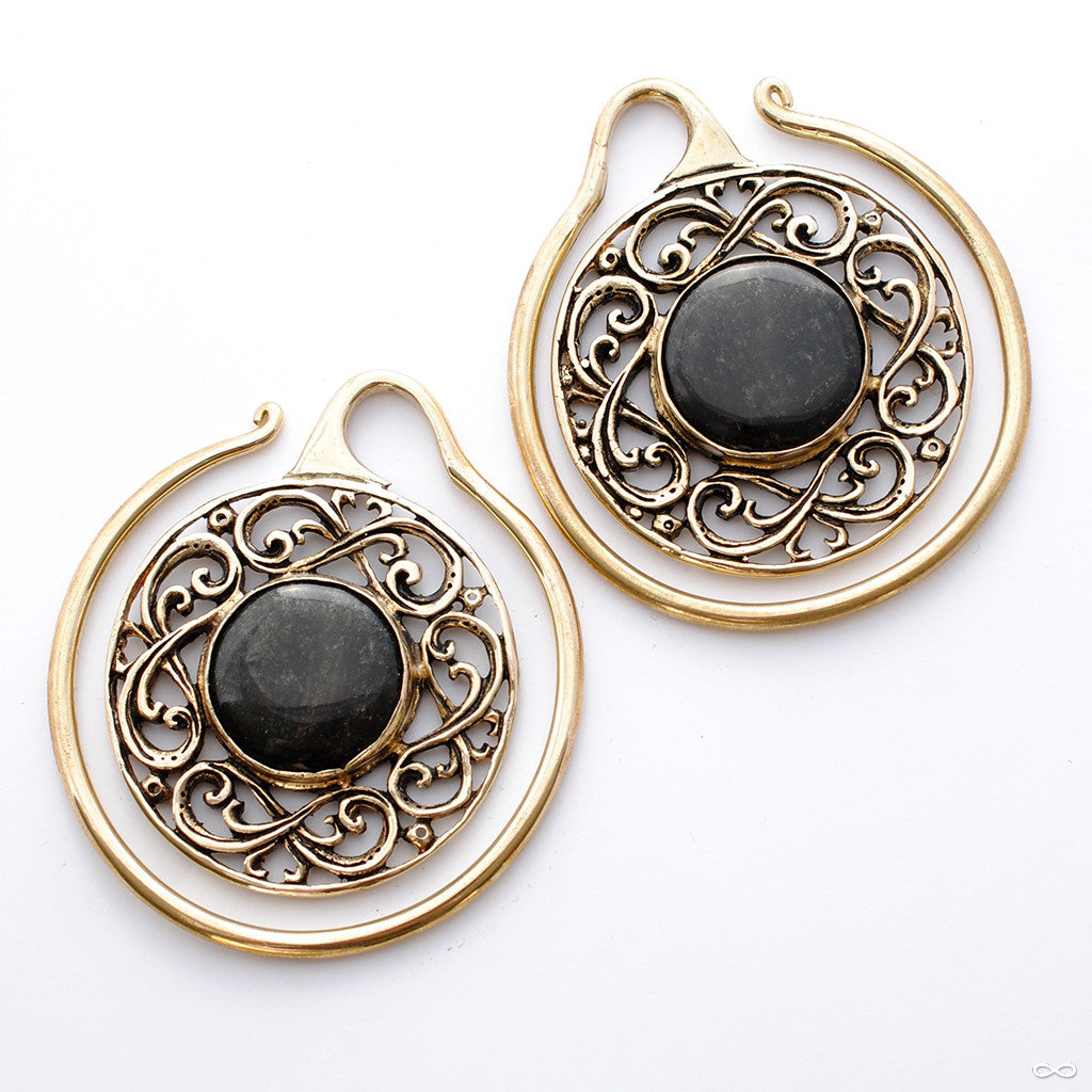 Celtic Hoops in Brass with Golden Obsidian from Oracle