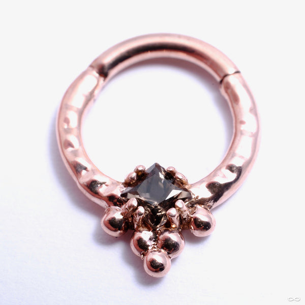 Myramid Princess Hinged Ring in Gold from Scylla with smokey topaz