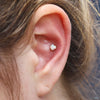 Conch piercing with Prong-set Opal Press-fit End in Gold from LeRoi in 4mm white opal