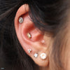 Conch piercing with Beaded Baguette Press-fit End in Gold from BVLA with Chatham Alexandrite