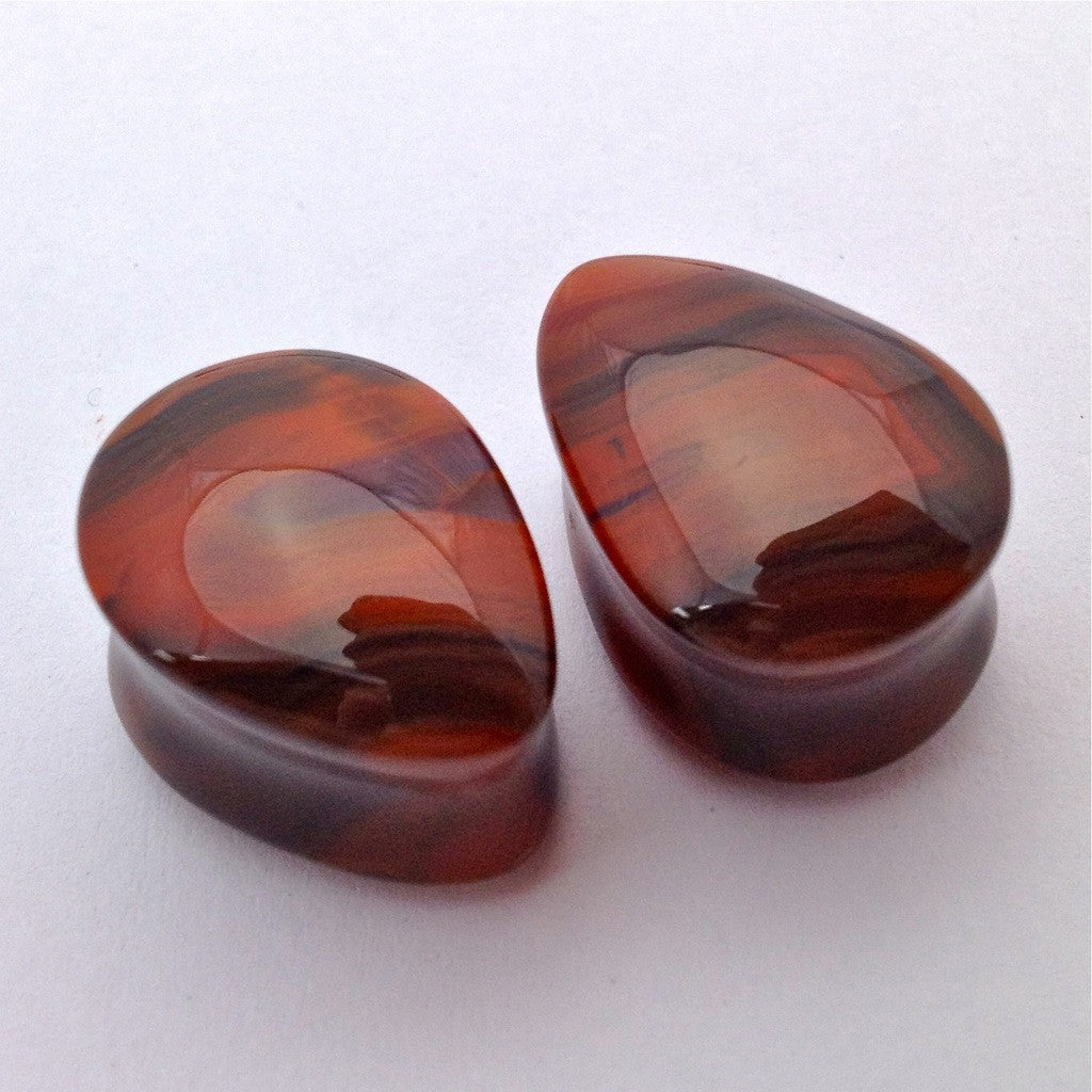 "Condor Agate Teardrop Plugs in 5/8"" from Oracle"