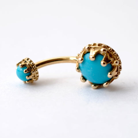 Crown Navel Curve in Gold with Turquoise from BVLA