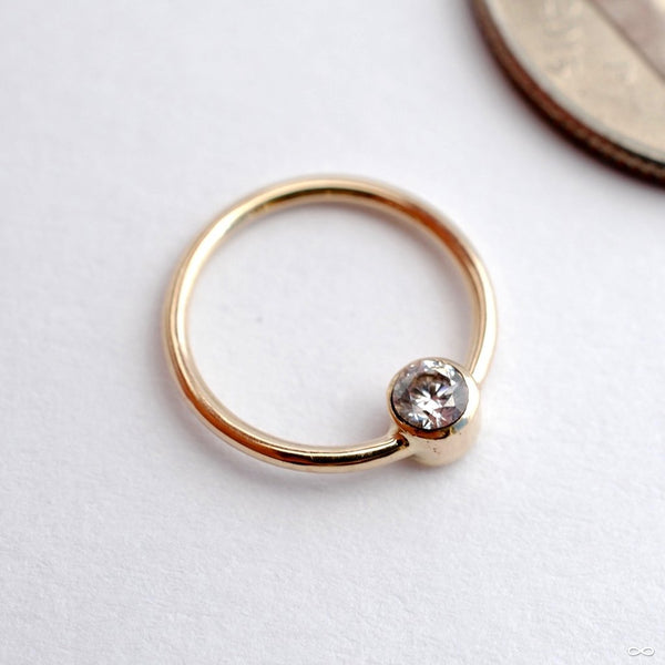 Fixed Bead Ring with Bezel-set Stone in Gold from Sacred Symbols with Clear CZ