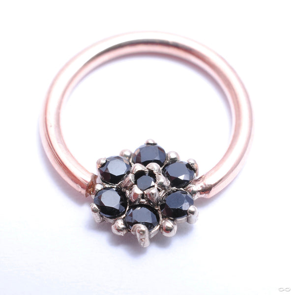 Forward-Facing Fleurette Fixed Bead Ring in Gold from Scylla with black spinel